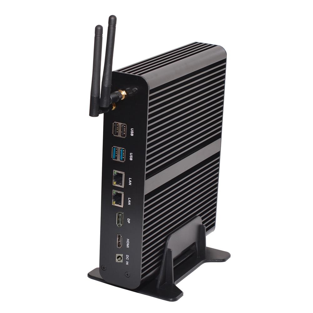 Top Fanless Mini PC Intel Dual Core I7 7560U Plus DP HDMI SD 8*USB Up To 32G RAM Mini Computer 2.4GHz Dual LAN Nettop HTPC 4K