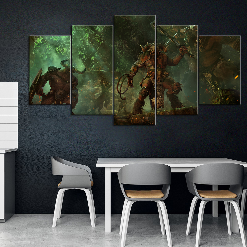 5 Piece Decorative Painting Poster Game Home Mural Total War: Warhammer Game Animation Art Wall Decor Paintings image