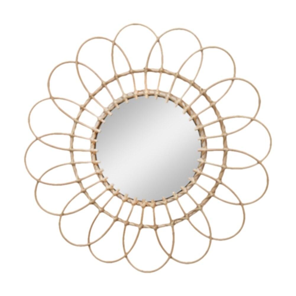 Rattan Dressing Mirror Innovative Art Deco Round Mirror Living Room Wall Hanging Mirror Kitchen Bathroom Mirror