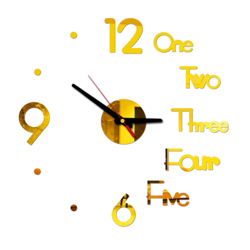 Letter Number Diy Digital Wall Clock 3d Mirror Surface Sticker Silent Clock Home Office Decor Wall Clock For Bedroom Office 2