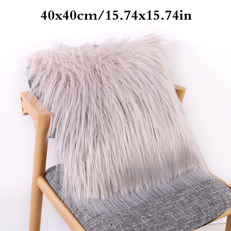 Solid Color Home Decoration Plush Fluffy Sofa Pillow Soft Cushion Cover ONE