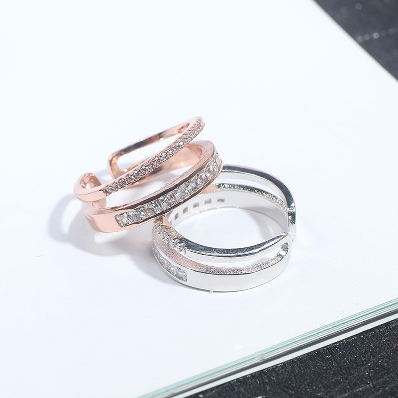 Korean version of the temperament and color protection micro zircon ring fashion versatile double open adjustable ring
