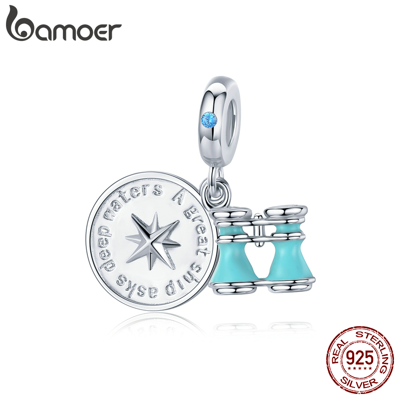 Bamoer 925 Sterling Silver Compass And Telescope Enamel Pendant Charm For Original Snake Bracelet New Design Jewelry BSC148