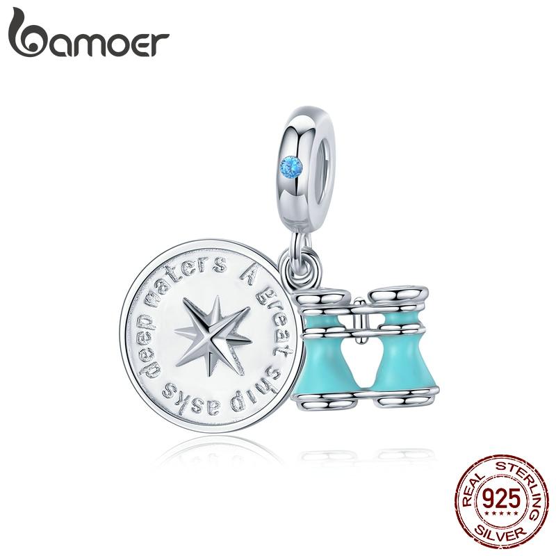 Bamoer 925 Sterling Silver Compass And Telescope Enamel Pendant Charm For Original Snake Bracelet New Design Jewelry BSC148