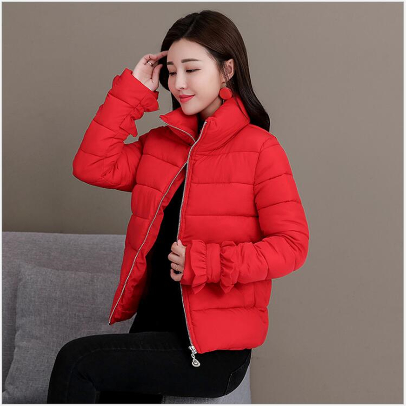 women parkas 2019 new Korean slim winter jacket women short cotton padded fashion stand collar bread coat clothing 3XL <font><b>R307</b></font> image