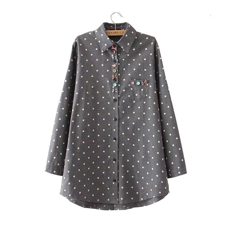 Drop Verzending chemise femme ropa mujer vrouwen katoen blouse Polka Dot Uitlopende Blusas Plus size Vrouwen Kleding Dames Tops