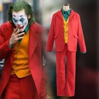 2019 Movie Joker Arthur Fleck Cosplay Costume Fancy Carnival Halloween Costumes Batman Cosplay Joker Costume Red Suit Set Outfit