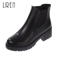 купить Liren 2019 Winter Genuine Leather Women Fashion Sexy Chelsea Boots Ankle Slip-on Keep Warm Boots Round Toe Flat Heels Lady Shoes дешево