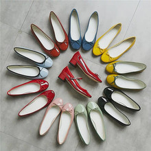 Women's Shoes Patent Leather Ladies Butterfly-Knot Sweet with Solid Falts Fashion