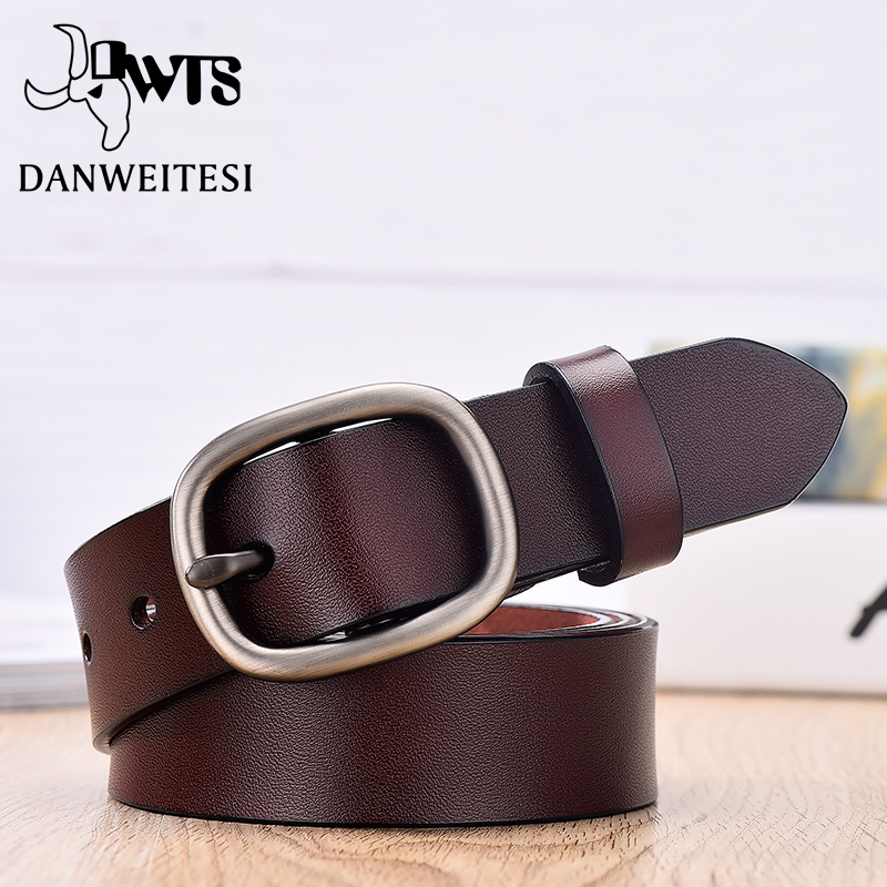 【DWTS】Women's Belt Fashion Women Female Belt Genuine  Leather Strap For Women Female Belts Pin Buckles Fancy Vintage For Jeans