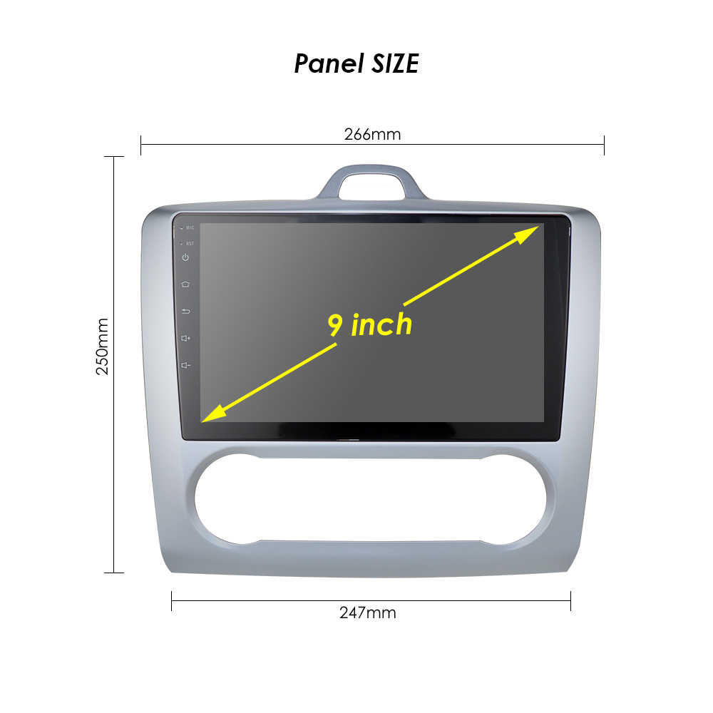 2004 2005 2006-2011 Ford odak Exi AT Android 10 2 DIN 9 inç GPS navigasyon dokunmatik ekran Quad-core araba radyo 3G