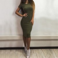 2019 Autumn Hot Slim Bodycon Dress Women Solid Color Chic Party Dresses Casual Sleep Wear Inside Wear Vestidos Pencil Dress 3