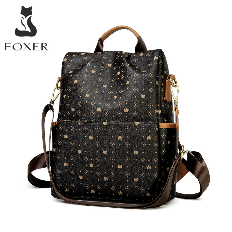FOXER Embossing Large Capacity Lady Backpack High Quality PVC Women Travel Bag School Backpack Over Sive Ladies Commuter Bag