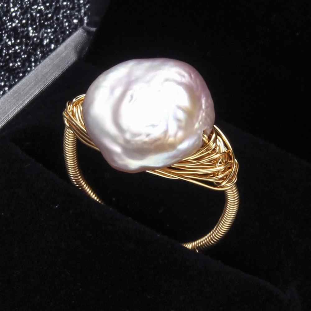 Pearl Rings Baroque Freshwater Pearl For Women Rings Party Big Pearl Natural Ring Luxury Pearl Jewelry Handmade Mother's Gift