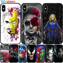 Marvel Avengers IronMan captain Black Phone Case For iPhone 11 Pro Max XS Max XR X 8 7 6S Plus 5S silicone Phone case Cover Etui(China)