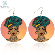 SOMESOOR 6cm AFRO Headwrap Woman Design African Wooden Drop Earrings Black Ethnic Artstic Wood  Jewelry For Lady Christmas Gift