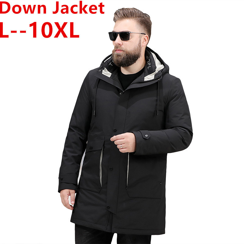 10XL 8XL 6XL Winter Men's Long Coat Fashion Thick Warm Slim Casual Hooded Jackets Long Sleeve Printed High Quality Cotton Jacket