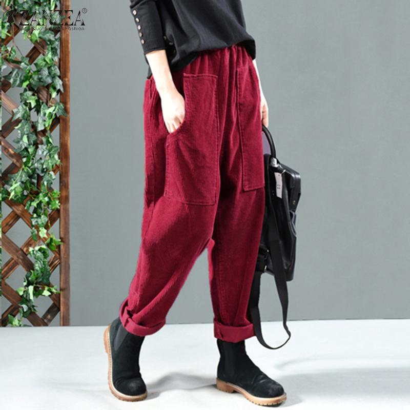 Women Autumn Elastic Waist Corduroy Pants Solid Long Trousers ZANZEA Vintage Corduroy Harem Pants Loose Turnip Pantalon Casual