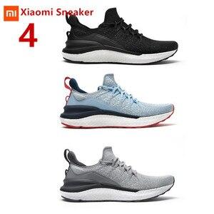 Image 1 - Tênis xiaomi mijia masculino, esportes ao ar livre de moldagem única, sistema de cadarço em espinha de peixe 3d, parte superior em tricô, corrida para homens sapatos com calçados