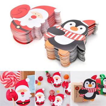 50Pcs Christmas Paper Chocolate Lollipop Sticks Cake Pops Xmas Decor Party School Supplies Stationery Christmas Stickers Gifts cake pops