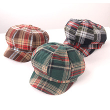 Autumn and winter octagonal hat ins retro British Plaid berets casual Japanese Joker female student street