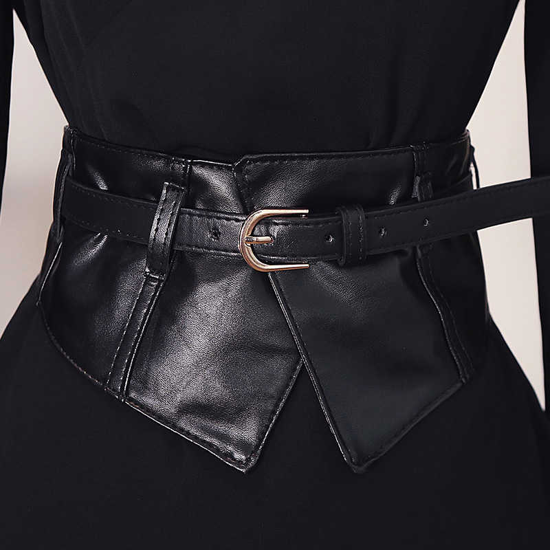 Fashion Women Peplum Wide Elastic Belts Slim Corset Black Leather Dress Waist Belt Girdle Buckle Belts