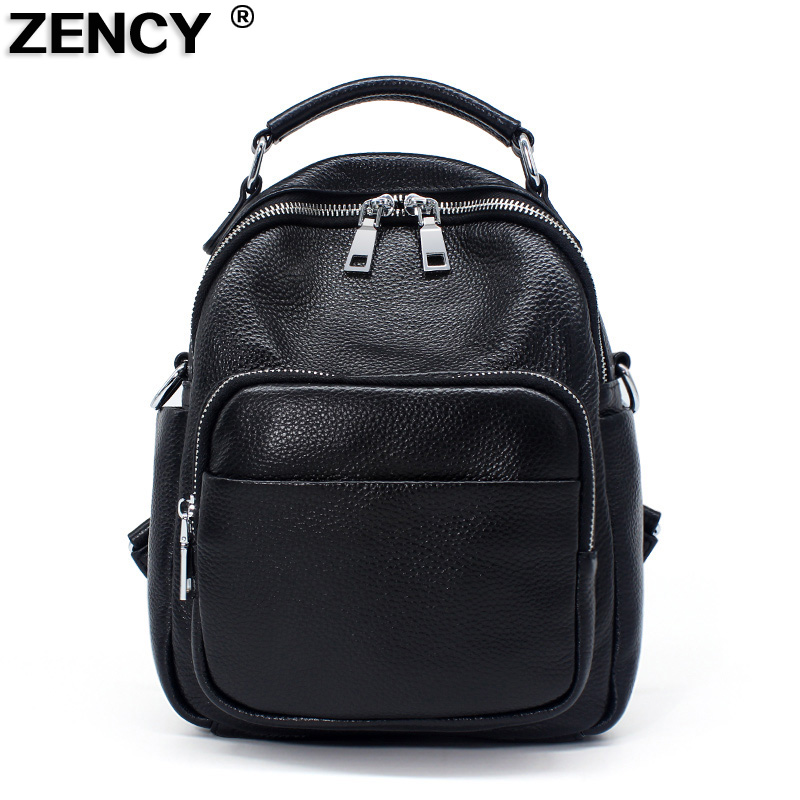 ZENCY 100% Genuine Cow Leather Silver Hardware Women's Backpacks Travel First Layer Cow Leather Ladies Female School Backpack