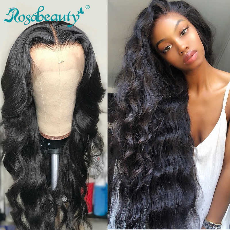 Rosabeauty 28 30 inch 13x6 Lace Front Human Hair Wigs 150% Density Brazilian Body Wave Frontal Wig Pre Plucked With baby hair