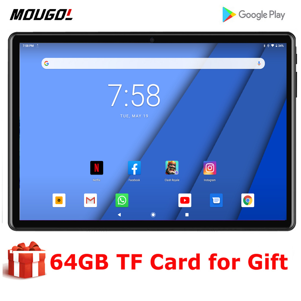 2020 New Game Office Tablet 10 Inch Quad Core MTK 3G Wifi Network Phone Call IPS 1280X800 Dual Camera Android 9.0 Phablet