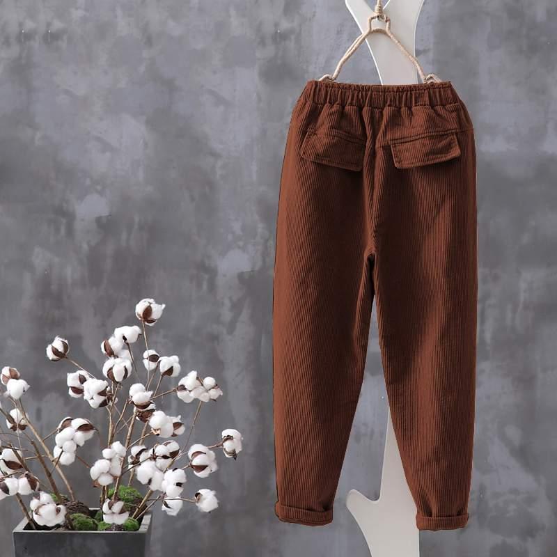 Women's Corduroy Harem Pants Solid Cropped Trousers ZANZEA 2020 Elastic Waist Long Pantalon Female Casual Palazzo Oversized 7