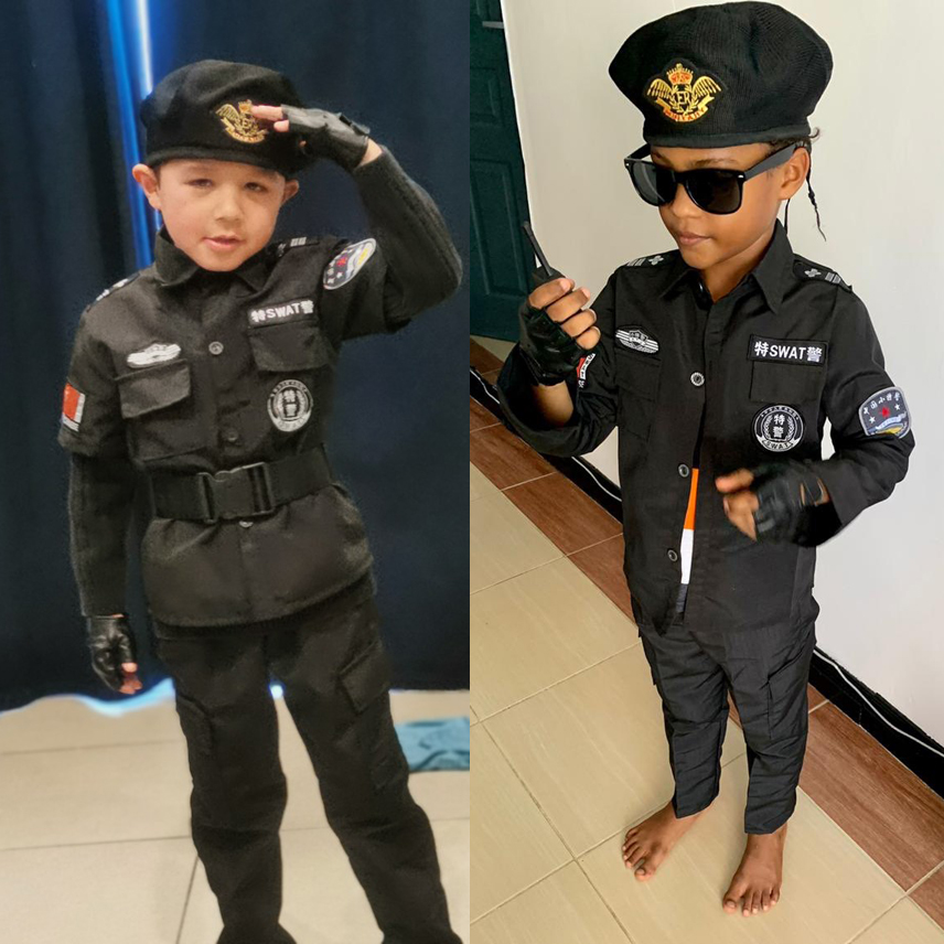 Halloween Party Anime Police Uniform Cosplay Costume Special Carnival Children Traffic Policemen Performance Kids Army Boys 2021