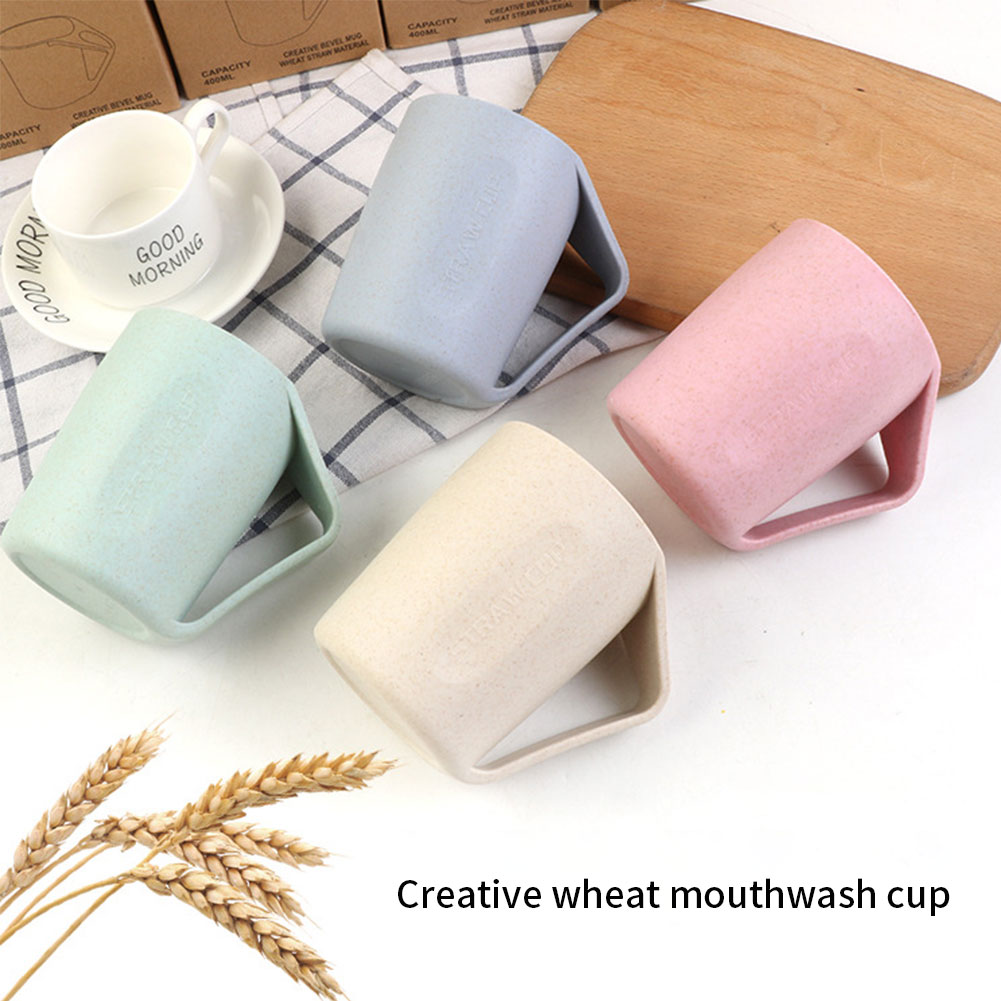 4pcs Wheat Straw Cups Biodegradable Bathroom Travel  Cup Brushing Cup Reusable Unbreakable with Thumb Rest Handle for Drinking
