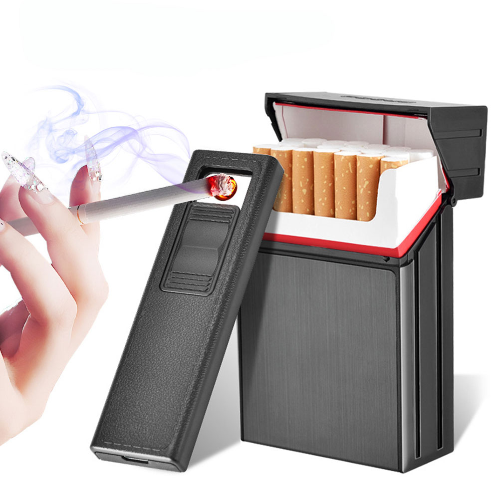 2-in-1 Cigarette Case USB Rechargeable Lighter For Smoking Flameless Electronic Cigarette Lighter Windproof Cigarette Case