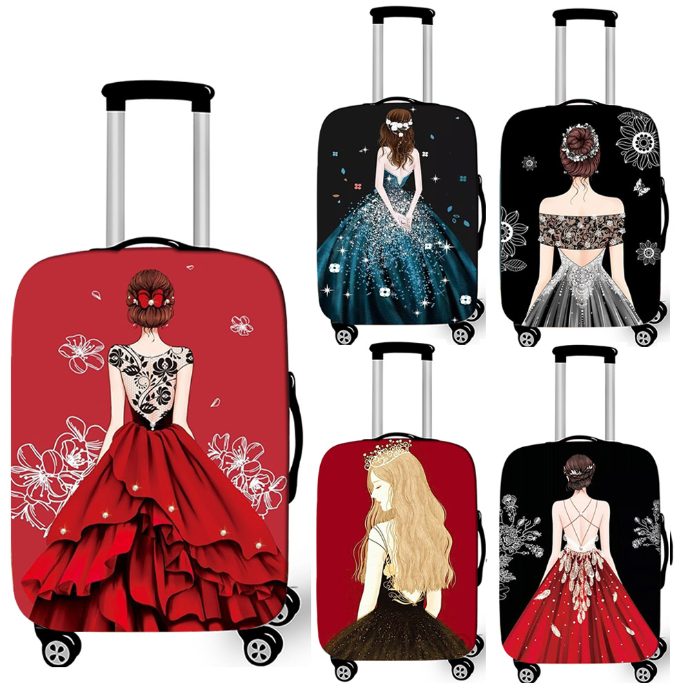 Elegent Ladies Print Luggage Protective Cover Women Travel Baggage Trolley Case Covers Elastic Suitcase Covers For Travelling