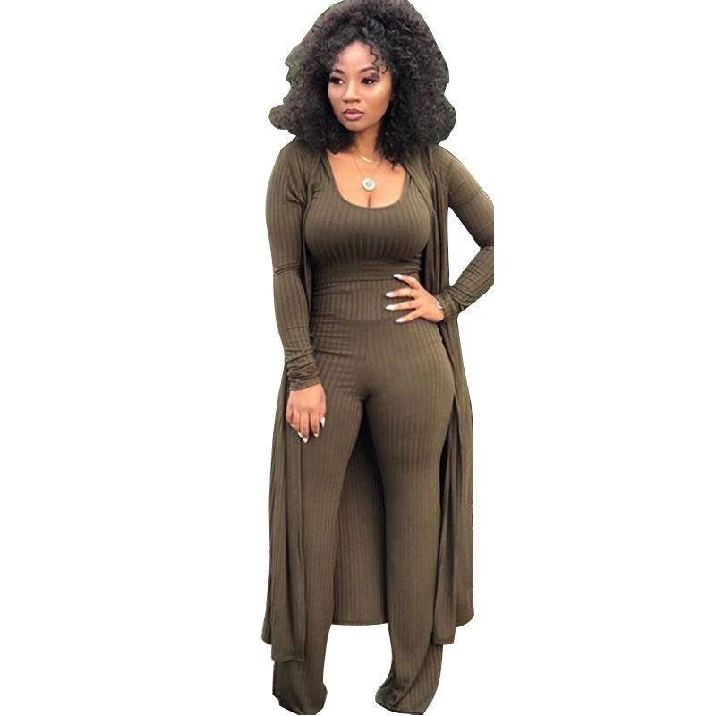Casual Women Three Pieces Set Crop Top + Long Coat + Long Pants Soild Color Autumn And Winter Cloth For Women