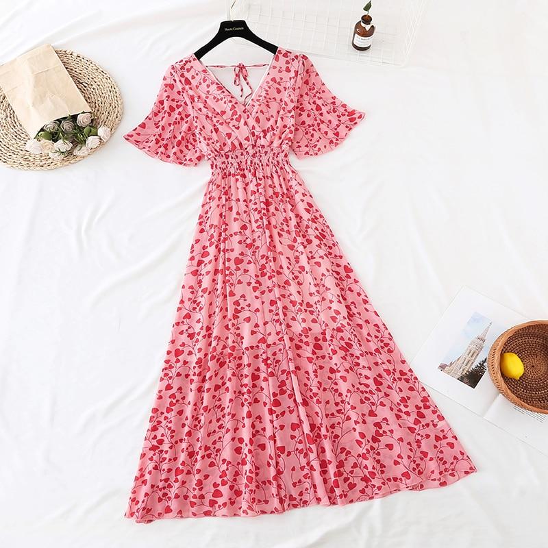 Summer Fairy Dress Women French Style Vintage Retro Chiffon Dress Short sleeve Casual Elegant Floral Print Dress Women 2021 New 22