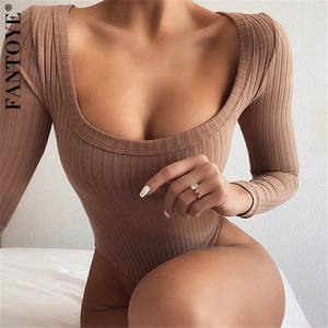 FANTOYE 2020 New Bodycon Bodysuit Long Sleeve Casual V Neck Rompers Basic One-piece White Black Overalls Women Body Top Jumpsuit