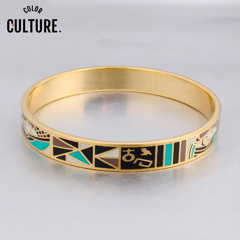 Fine Jewelry Filled Color Geometry Designs Pattern Enamel Charms Bangles for Women Stainless Steel Bracelets