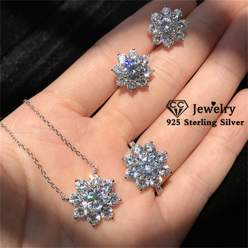 CC S925 Silver Jewelry Sets For Women Cubic Zirconia Snowflake Necklace Pendant Ring Stud Earrings 3PCS Drop Shipping CCAS222