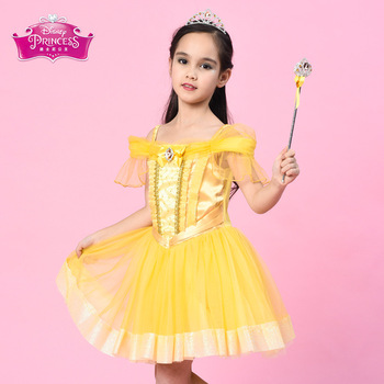 Disney Princess Dress Baby Girls Dress Little Princess Dresses Pompon Dress Cosplay Costume Elsa Anna Children Party Clothes