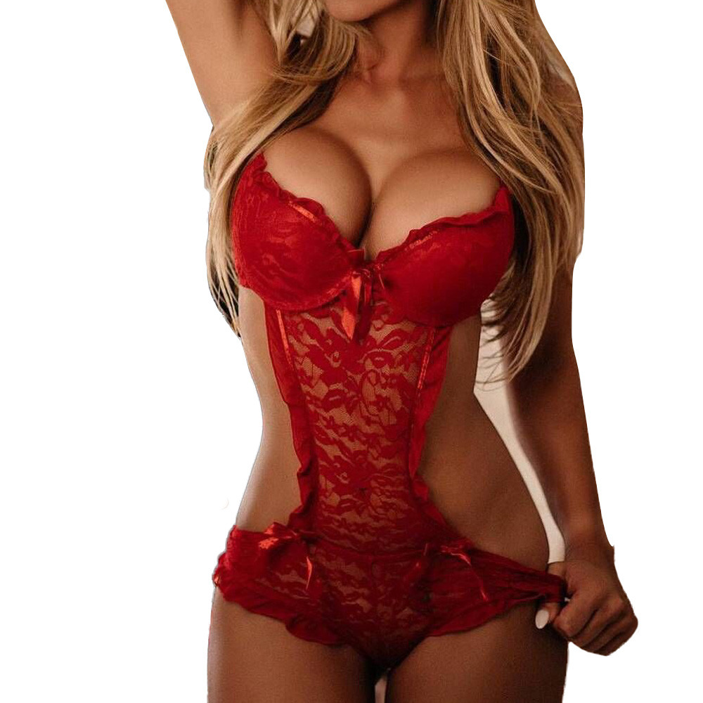 Hot Sale Sexy Lace Lingerie Sexy Nightwear Underwear Porn Sexy Christmas Clothes Women Hot Erotic Apparel Baby Dolls Dress Teddy