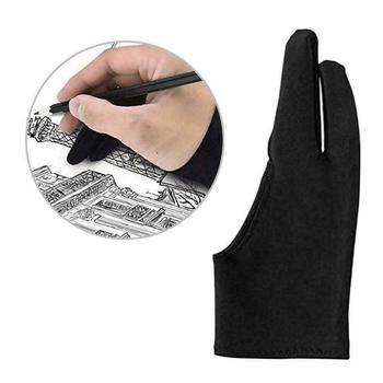 1Pc czarny 2 Finger Anti-antyzabrudzeniowa rękawica zarówno dla prawej jak i lewej ręki rysunek artystyczny dla każdego Tablet graficzny do rysowania tanie i dobre opinie Other Free Size Artist Drawing Glove Black