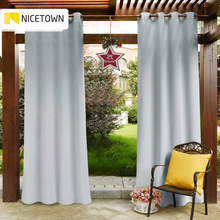 Drapes Curtain-Panel Pergola Garden Outdoor Blackout for Patio Top-Ring Grommet Water-Repellent