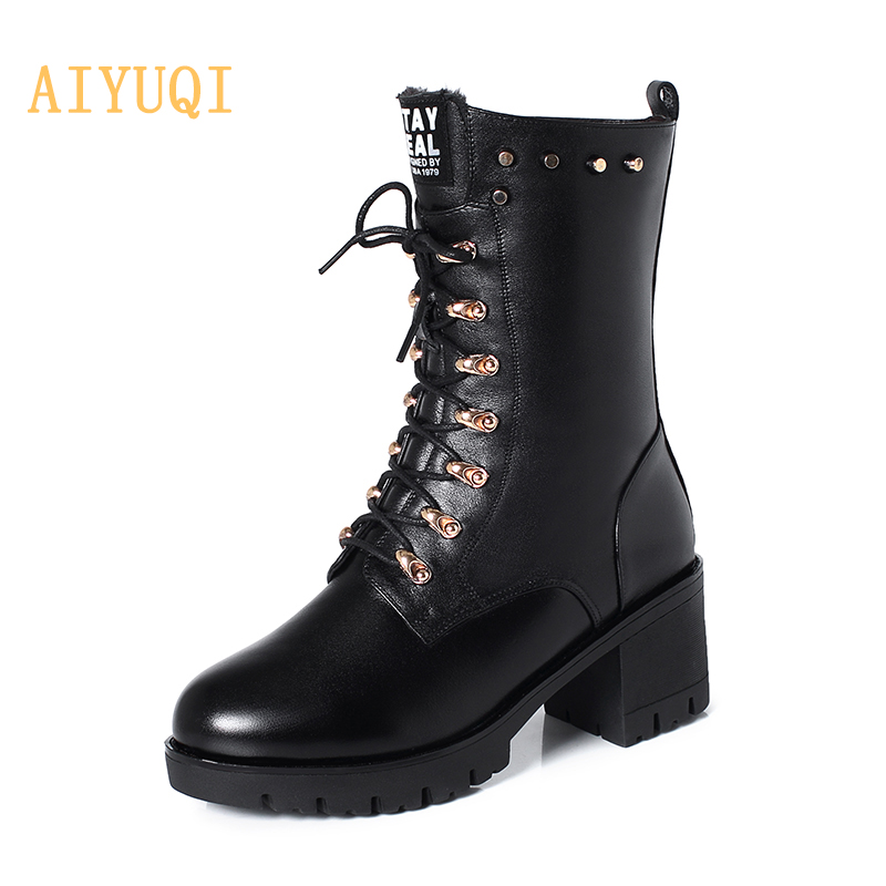 AIYUQI Women Boots Winter Mid-calf Studded Martin Genuine Leather Large Size 43 Wool Warm Motorcycle