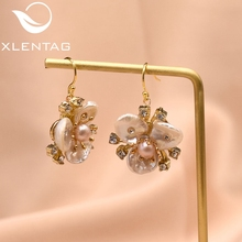 XlentAg Original Design Handmade Natural Fresh Water Pearl Flower Drop Earrings For Women Wedding Luxury Jewelry Kolczyki GE0713 xlentag original design handmade natural fresh water pearl flower drop earrings for women wedding luxury jewelry kolczyki ge0713