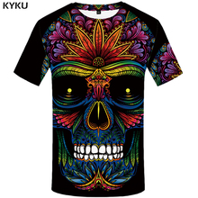 2019 streetwear fashion 3d T-shirt Skull Top tee Printed Gothic Mens tShirt Punk Rock Short Sleeve Men Flower Anime Clothes