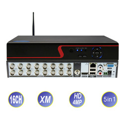 Xmeye 16CH 4MP 5in1 AHD DVR Гибридный рекордер с Wifi H.264 для аналоговых AHD CVI TVI IP-камер видеонаблюдения CCTV P2P