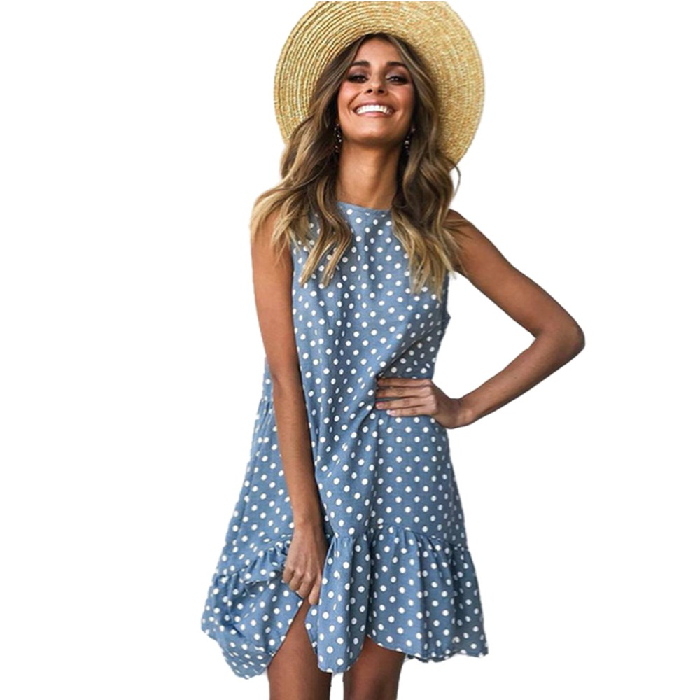 Summer Dress 2021 Women Ruffle Spring  Street Sexy Casual Slim Thin Beach Party O Neck Mini Polka Dot Dress Vestidos De Fiesta|Dresses|   - AliExpress