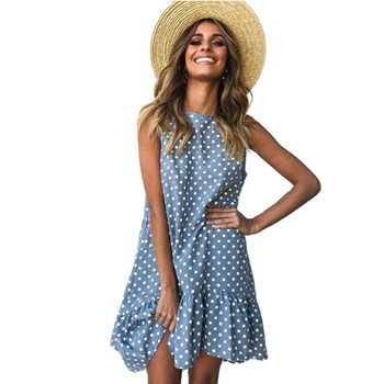 Wave Point Dress Ruffle Women 2019 Spring Summer Street Sexy Casual Slim Thin Beach Party O Neck Mini Polka Dot Dress Vestidos wave point dress ruffle women 2019 spring summer street sexy casual slim thin beach party o neck mini polka dot dress vestidos