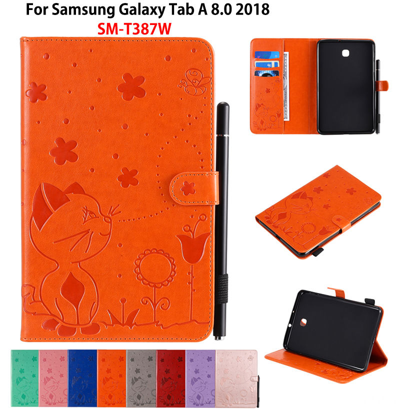 Case For Samsung Galaxy Tab A 8.0 2018 Cover SM-T387W SM-T387V T387 Funda Coque Cat Bee Embossed PU Leather Stand Shell Capa